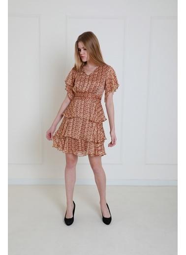 JEANNE D'ARC Volanlı V Yaka Çiçek Desen Elbise JE89391 Oranj